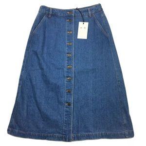 RM Williams Blue Denim Button Front Skirt Size 14
